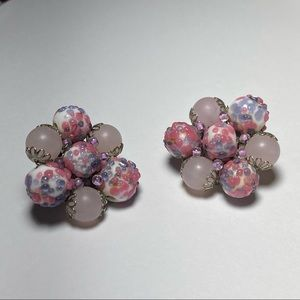 Vintage Pink Accented Clustered Clip On Earrings